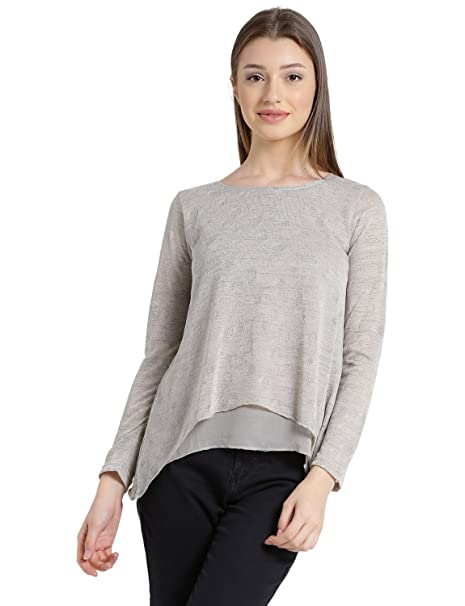 43fdaa39e2f84 MANOLA Tops for Women in Western wear - Poly Cotton Material - Solid  Pullover Tshirt for Ladies - Women s Grey Long Sleeves Top ...