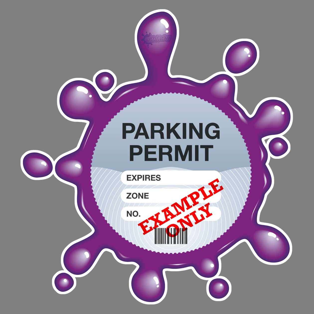Parking Permit Holder Skin PURPLE SPLAT - FREE POSTAGE Artisticky AS-0015
