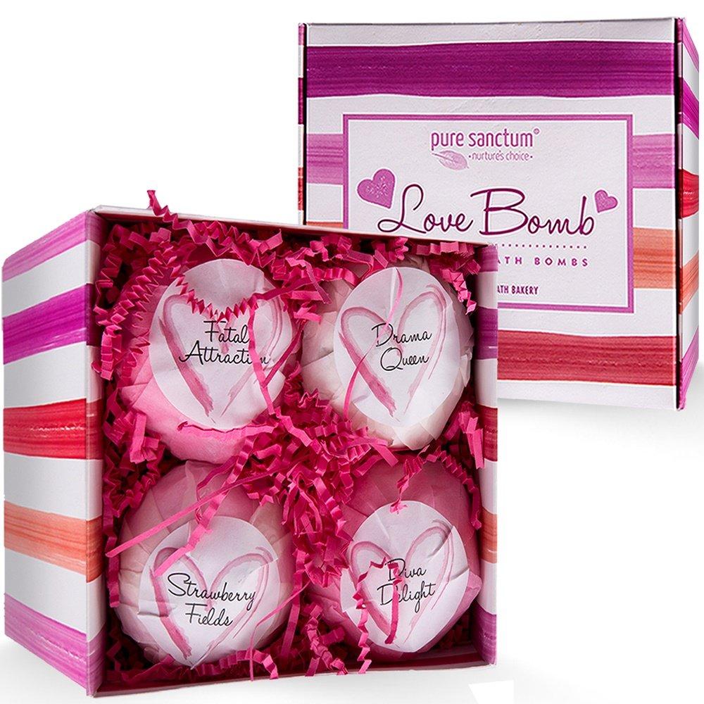 Bath Bombs Set - Luxury Bath Fizzies - Lush Size 6 Ounce Natural Bath Balls - US Made - Love Bomb
