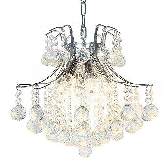Lightess Kristall Kronleuchter Hängelampe Im Europäischen Stil Moderne  Minimalistische Pendelleuchte 6 Leuchtmittel 400*400