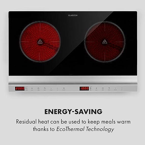 Klarstein MisterCook Duo placa de cocina infrarrojo - 2 zonas de cocción, 3000 W, 10 niveles de potencia y temperatira, 90-650 °C, Programable, ...