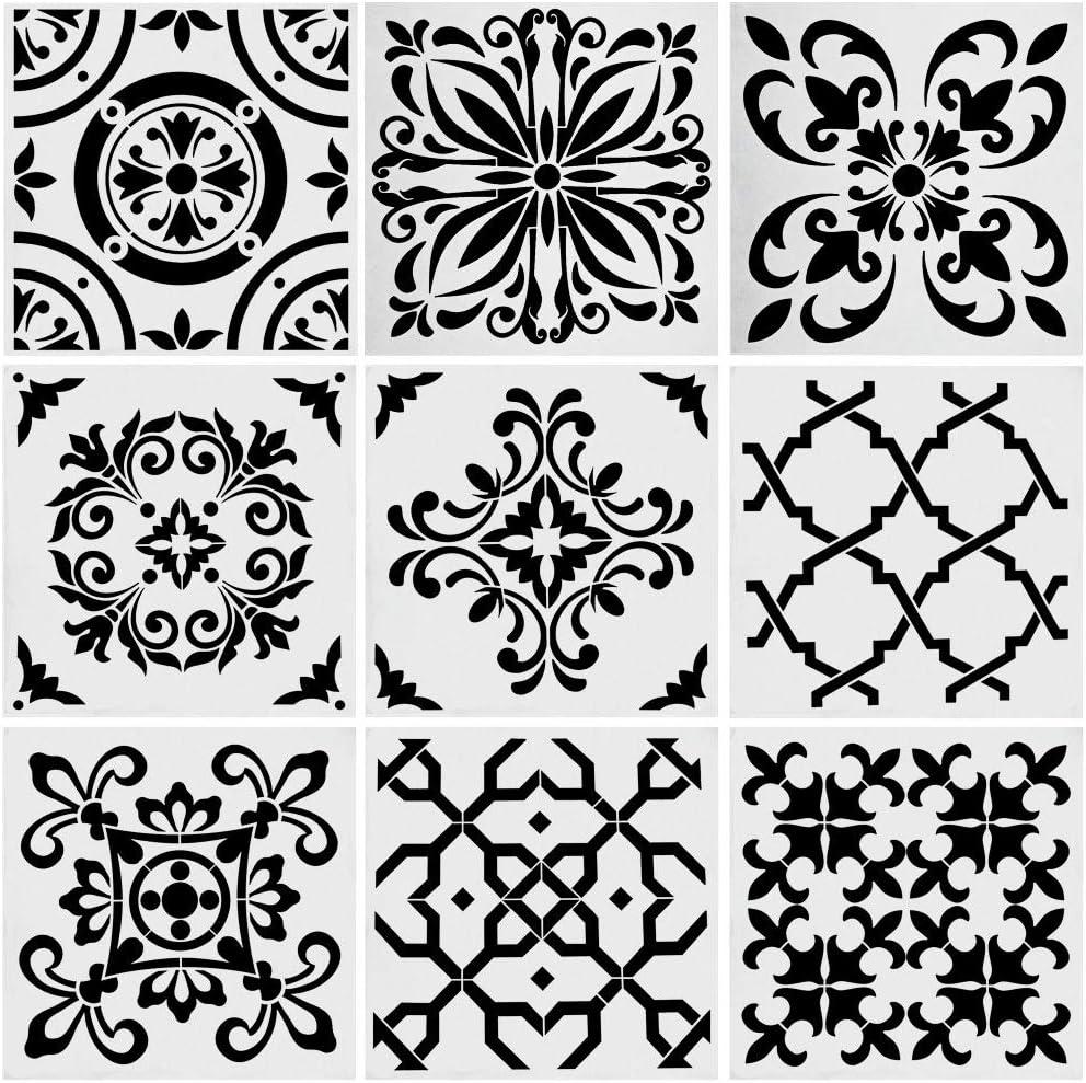 9pcs Stencils Set Tile Stencil, Uspacific 6x6 Inch PET Material Tile Paint Stencils for Laser Cut Painting, Walls, Fabric, Airbrush, Furniture, Floor (3)