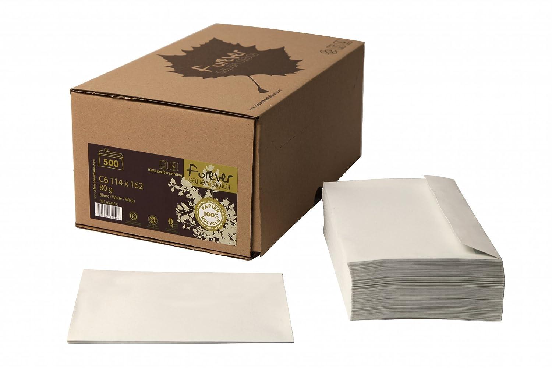 Clairefontaine 65946C Forever Paquet de 500 Enveloppes autoadh/ésives 11,4 x 16,2 cm 80 g Blanc