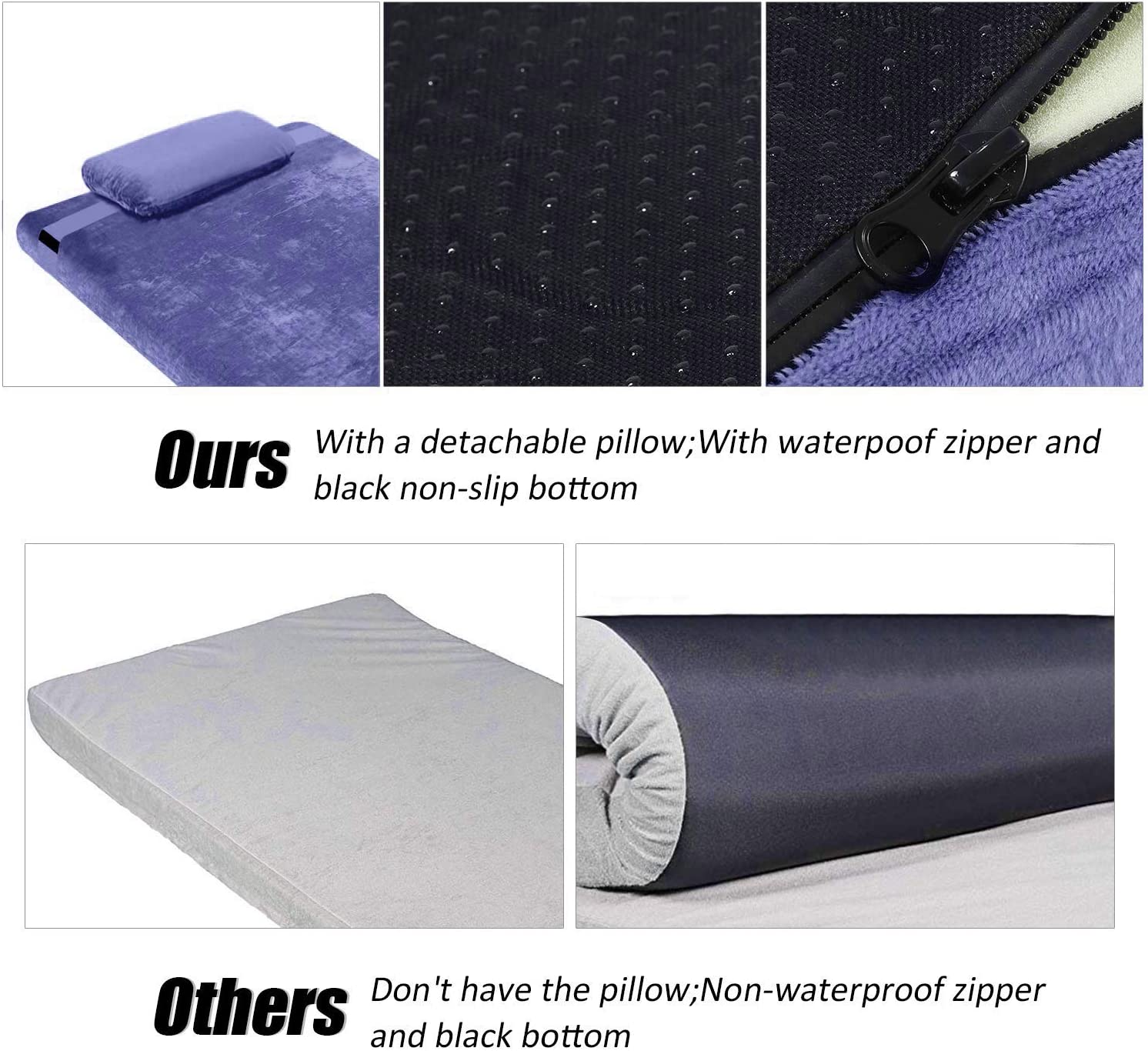 FBSPORT Memory Foam Floor Mattress with Pillow Camping Mattress//Car Travel Mat//Roll-Up Guest Bed//Portable Sleeping Pad Adult with Removable Waterproof Cotton Terry Cover and Bag