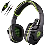 Sades SA-708 PC Gaming Headset 3.5mm Stereo Computer Over Ear Headphones With Microphone / Volume Control for Laptop - Green