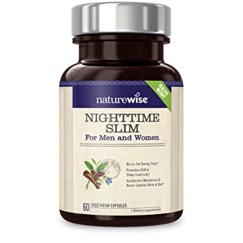 NatureWise Nighttime Slim with Capsimax | Burn 116 Calorie While You Sleep  | Promotes a Restful Sleep,
