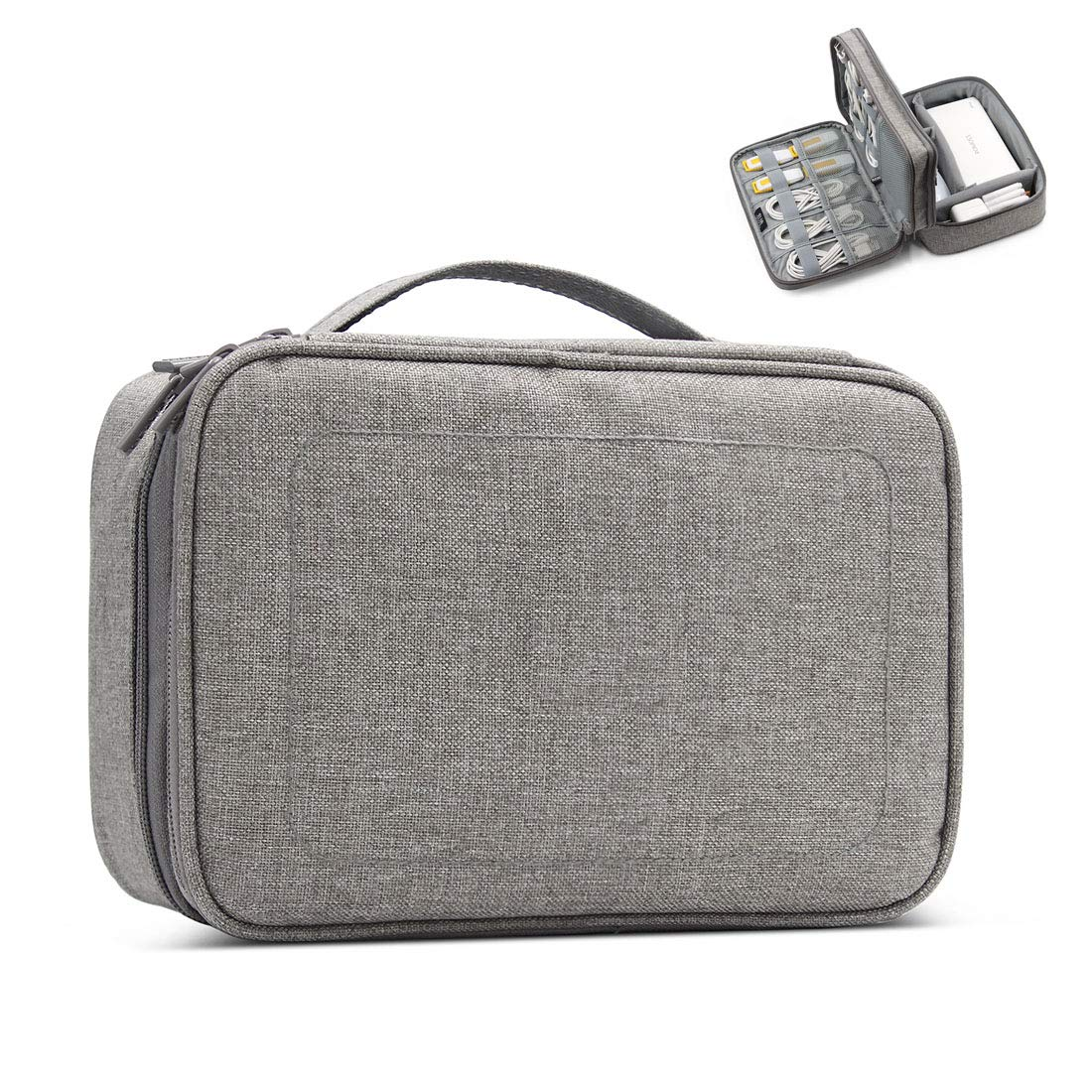 UKAN Double Layer Multi-Functional Electronic Accessories Organizer, Travel Gadget Bag for Cables, USB Flash Drive, Plug and More, Grey