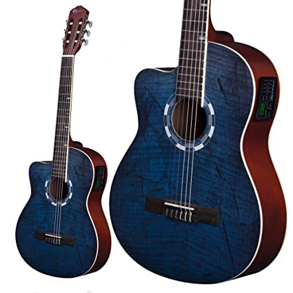 Lindo para zurdos 960 CEQ Picasso azul clásica – guitarra electroacústica (abeto Natural incluye funda