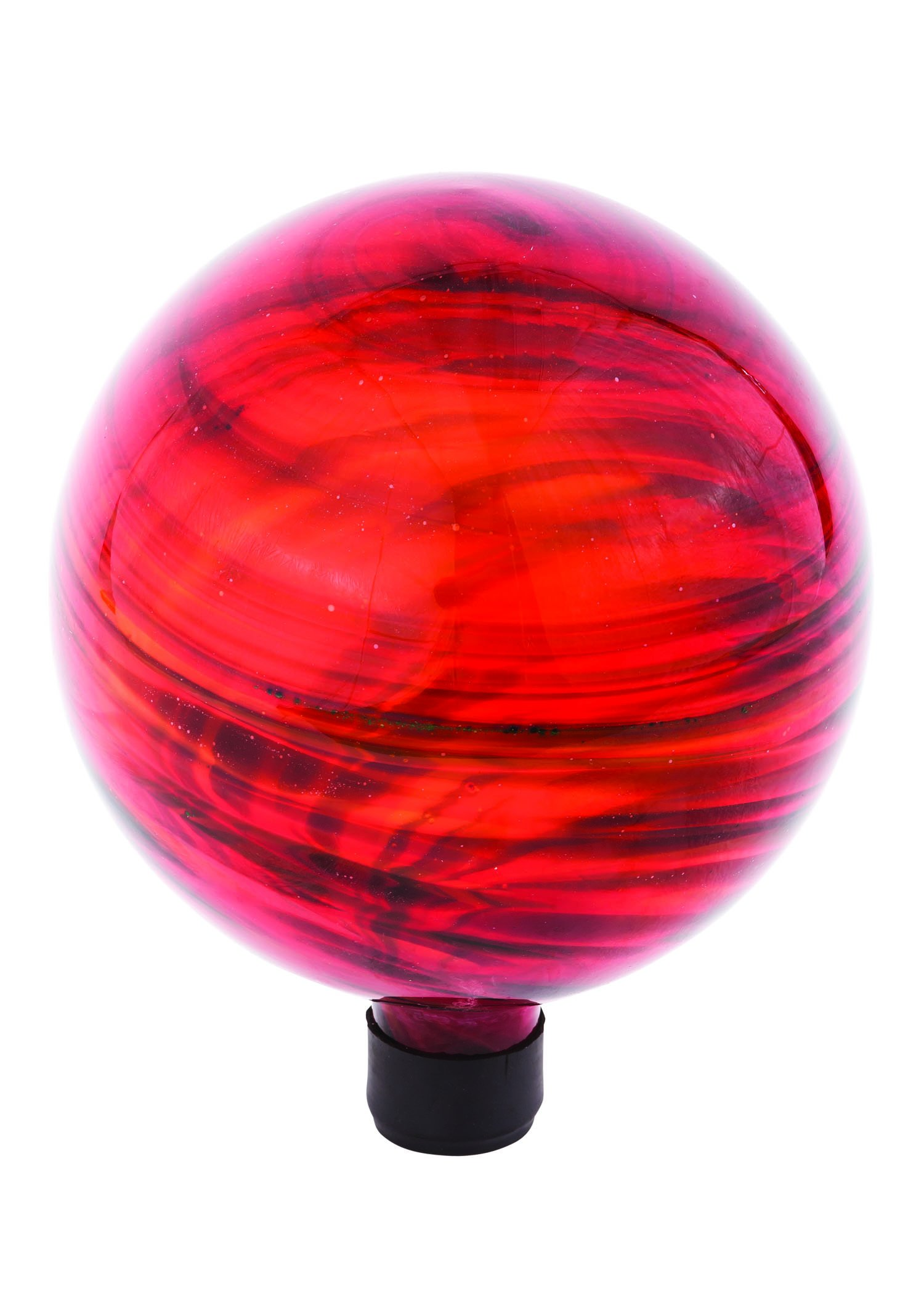 Russco III GD137180 Glass Gazing Ball, 10'', Red Swirl
