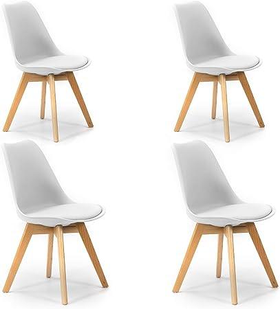 VS Venta-stock Pack 4 sillas Klara Blanco, Pata Madera y Asiento Acolchado, Estilo nórdico: Amazon.es: Hogar