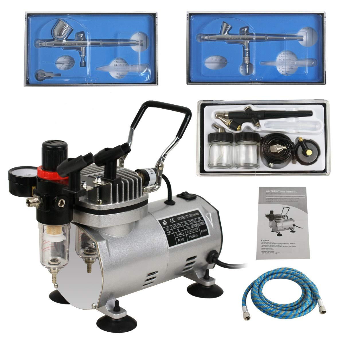 ZENY 1/5HP Multi-Purpose Pro Airbrushing Compressor Kit System w/ 3 Airbrushes, 6' Air Hose & Airbrush Holder, Manual by ZENY