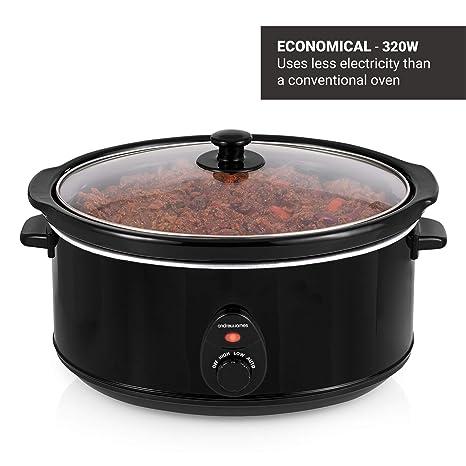 Andrew James Olla de cocción Lenta 6,5 litros | Tapa de Vidrio Templado y tazón de cerámica extraíble | Ideal para Hacer hasta 20 porciones ...