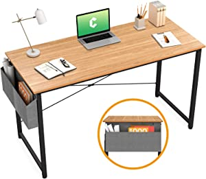 "Cubiker Writing Computer Desk 39"" Home Office Study Desk, Modern Simple Style Laptop Table with Storage Bag, Natural"