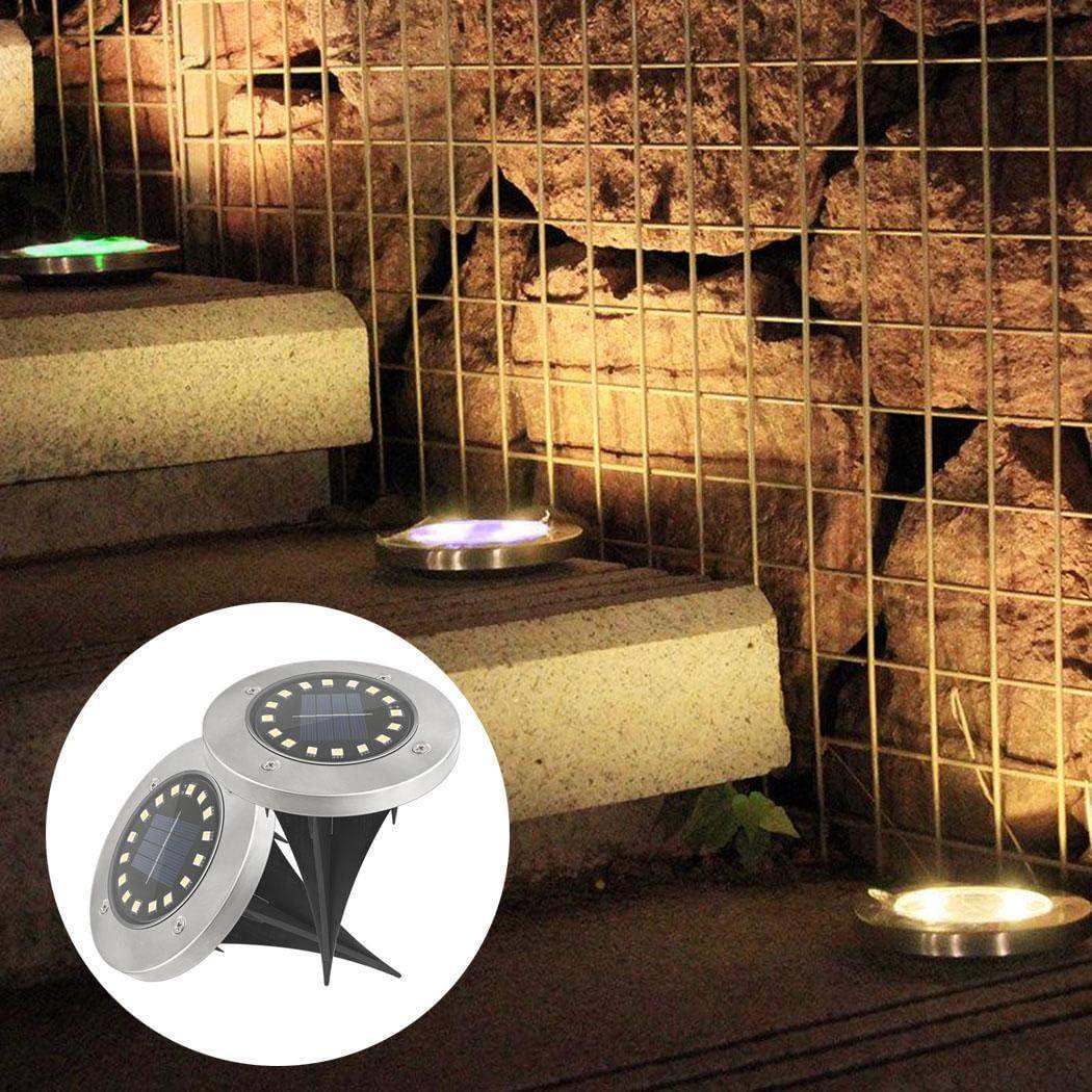 MinGe Solar 16-LEDs Underground Lights Waterproof Lawn Lights Garden Decoration In-Ground Lights