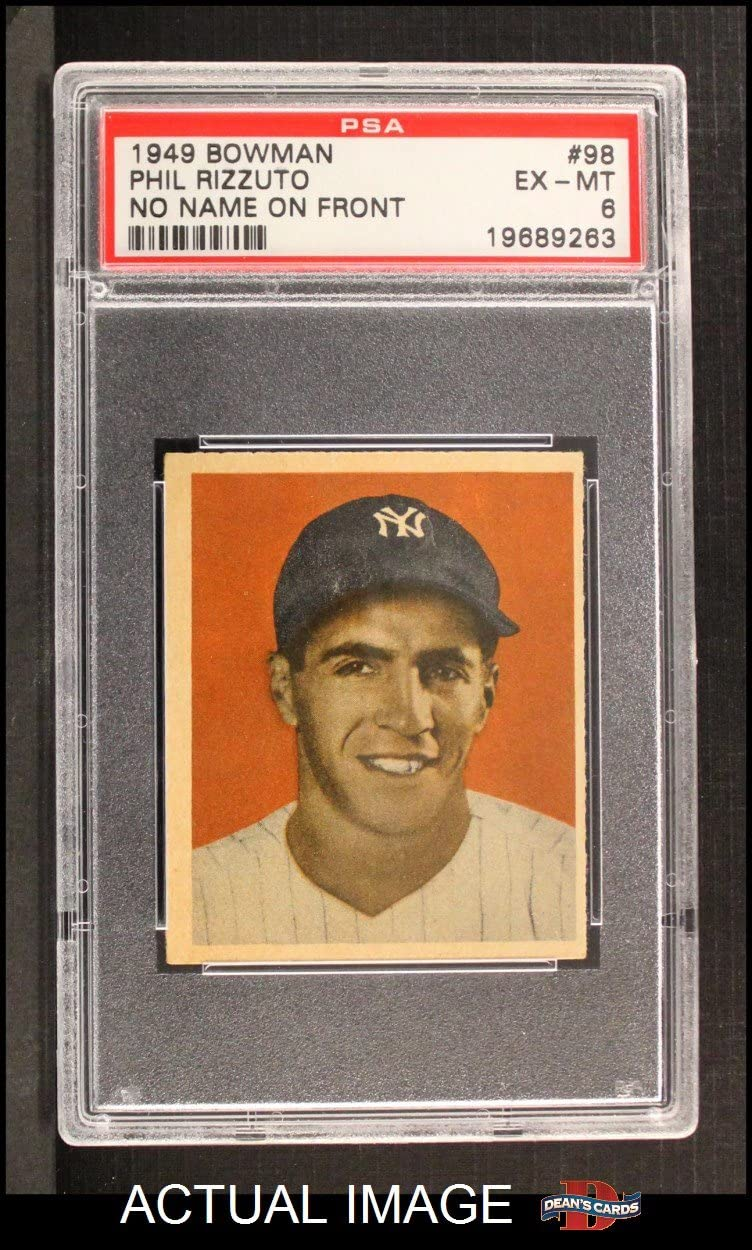 1949 Bowman # 98 NNOF Phil Rizzuto New York Yankees (Baseball Card) (No Name on Front) PSA 6 - EX/MT Yankees 71oRnF86YULSL1250_