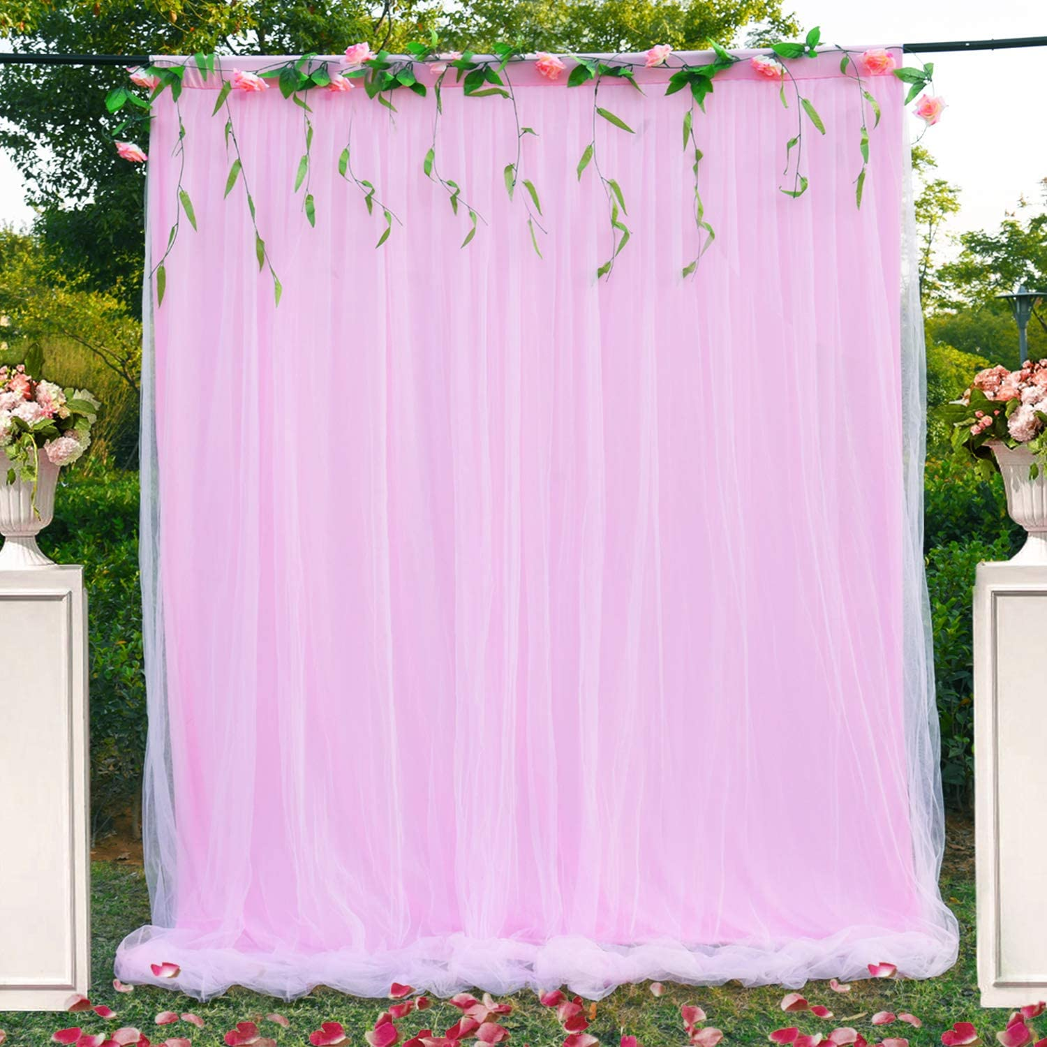 Champagne Backdrop Curtain for Paries Baby Shower Wedding Birthday Party Home Decorations 5 ft X 7 ft
