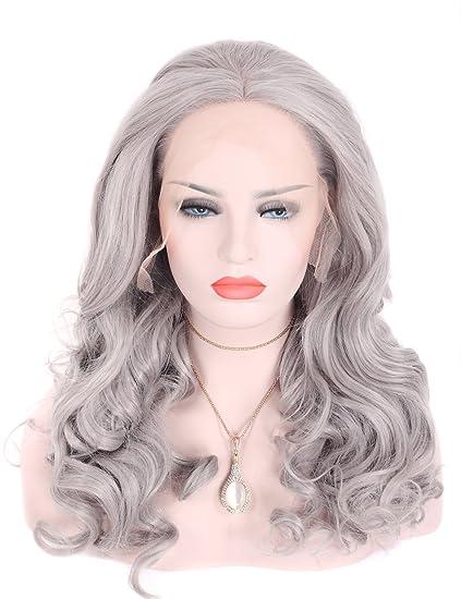 Tripal pelo sintético peluca gris plata ondulado Lace Front Peluca Sin Pegamento resistente al calor pelo