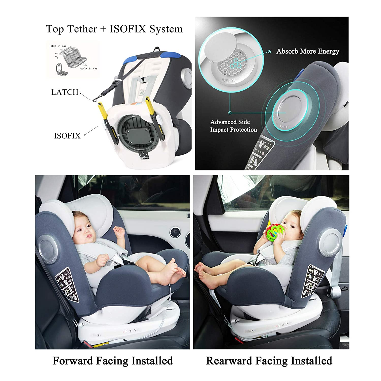 0-36 kg//0-12 Year LETTAS Baby Car Seat for Child Group 0+//1//2//3 ISOFIX+ Top Tether Rotation 360/° Black/_6