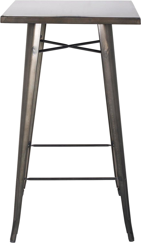 New Pacific Direct Metropolis Metal Bar Table, Gunmetal Grey
