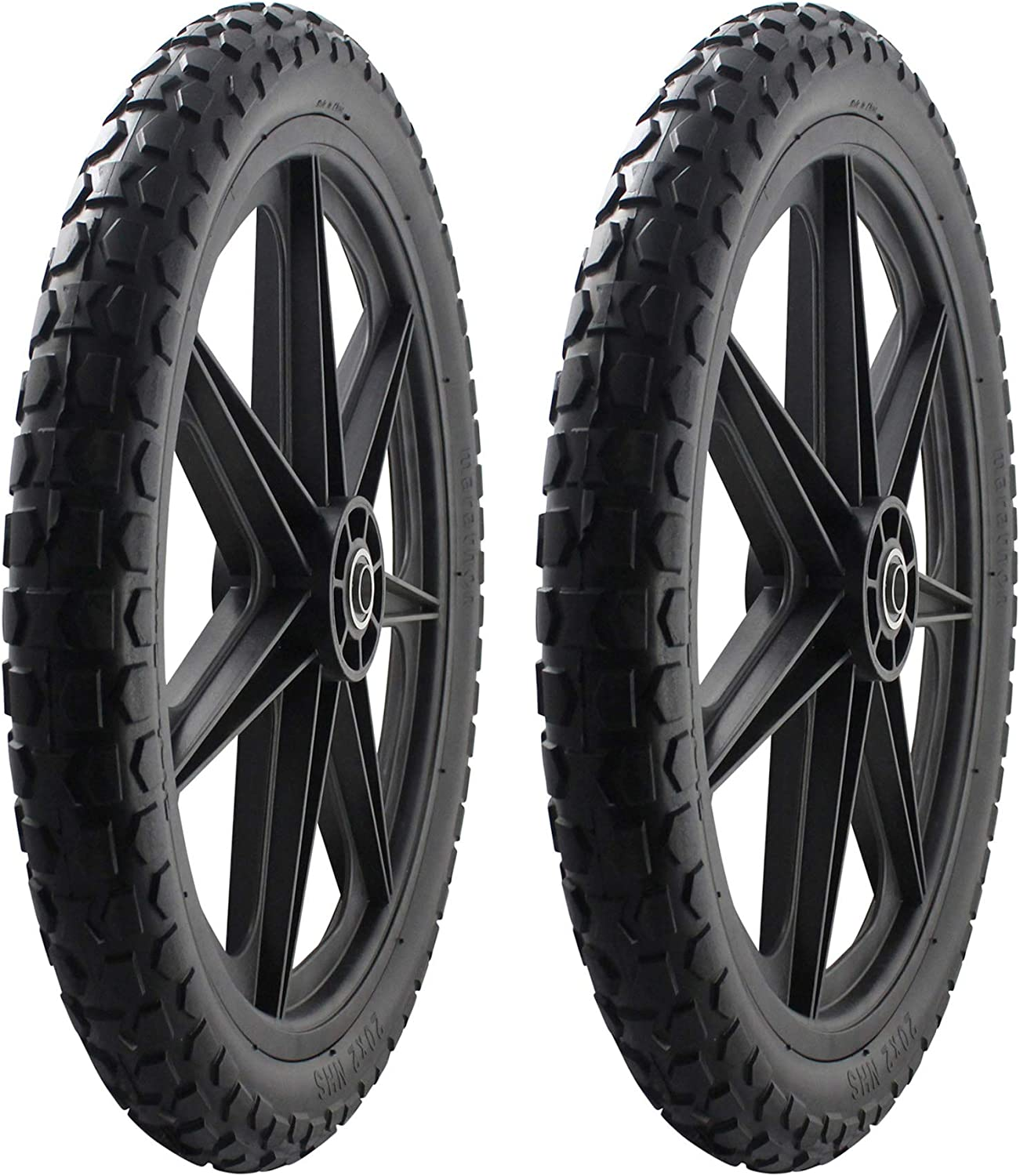 """2 PACK -Marathon 92010 Flat Free 20"""" Replacement Tire Assembly for Rubbermaid Big Wheel Carts, Black"""