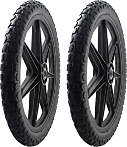 "2 PACK -Marathon 92010 Flat Free 20"" Replacement Tire Assembly for Rubbermaid Big Wheel Carts, Black"