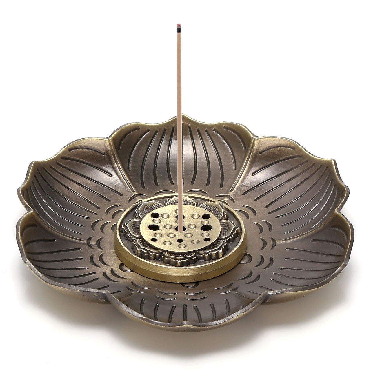 Jovivi Brass Incense Holder - Lotus Stick Incense Burner and Cone Incense Holder with Ash Catcher(9 Holes)