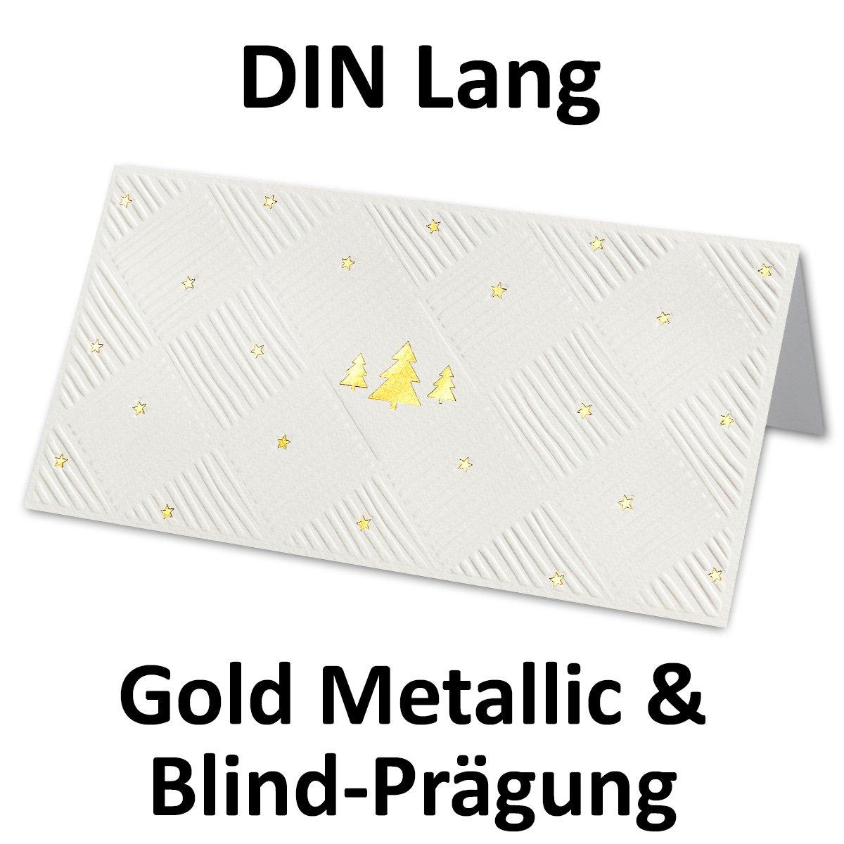 Tarjetas de Navidad DIN Largo, con ancho marco ancho con relieve y relieve dorado, con cremefarbenen Sobres DIN Largo y blancas einlegern 24d92d