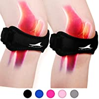 Achiou 2 Pack Patellar Tendon Support Strap, Knee Pain Relief with Silicone Adjustable...