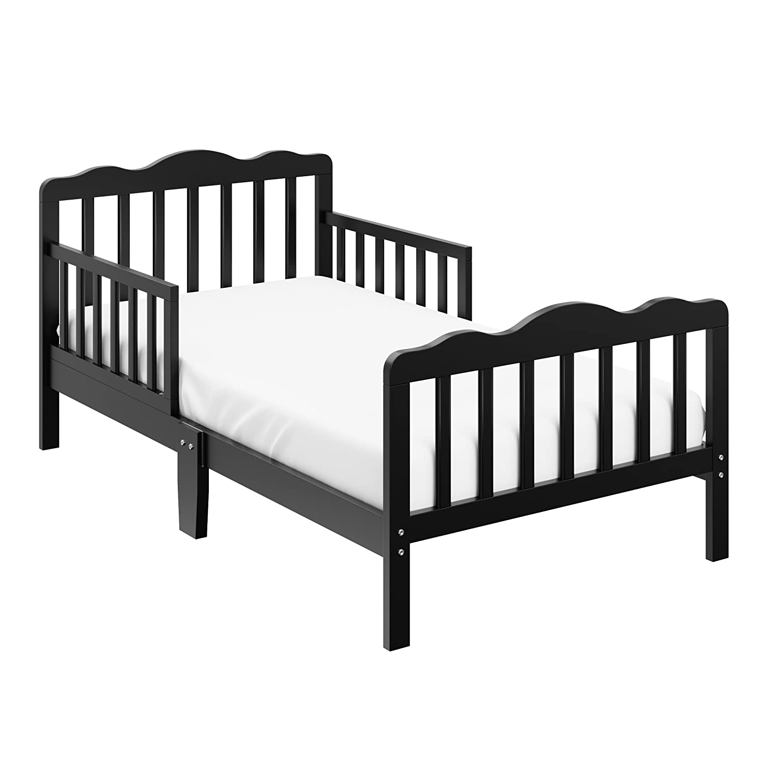 Storkcraft Hillside Toddler Bed Black Fits Standard-Size Toddler Mattress, Guardrails on Both Sides for Added Protection, Meets or Exceeds all Federal Safety Standards, Pine & Composite Construction 05251-10B