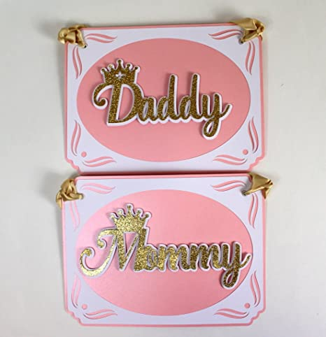 All About Details Shimmer Pink Gold Princess Theme Daddy Mommy Chair Signs