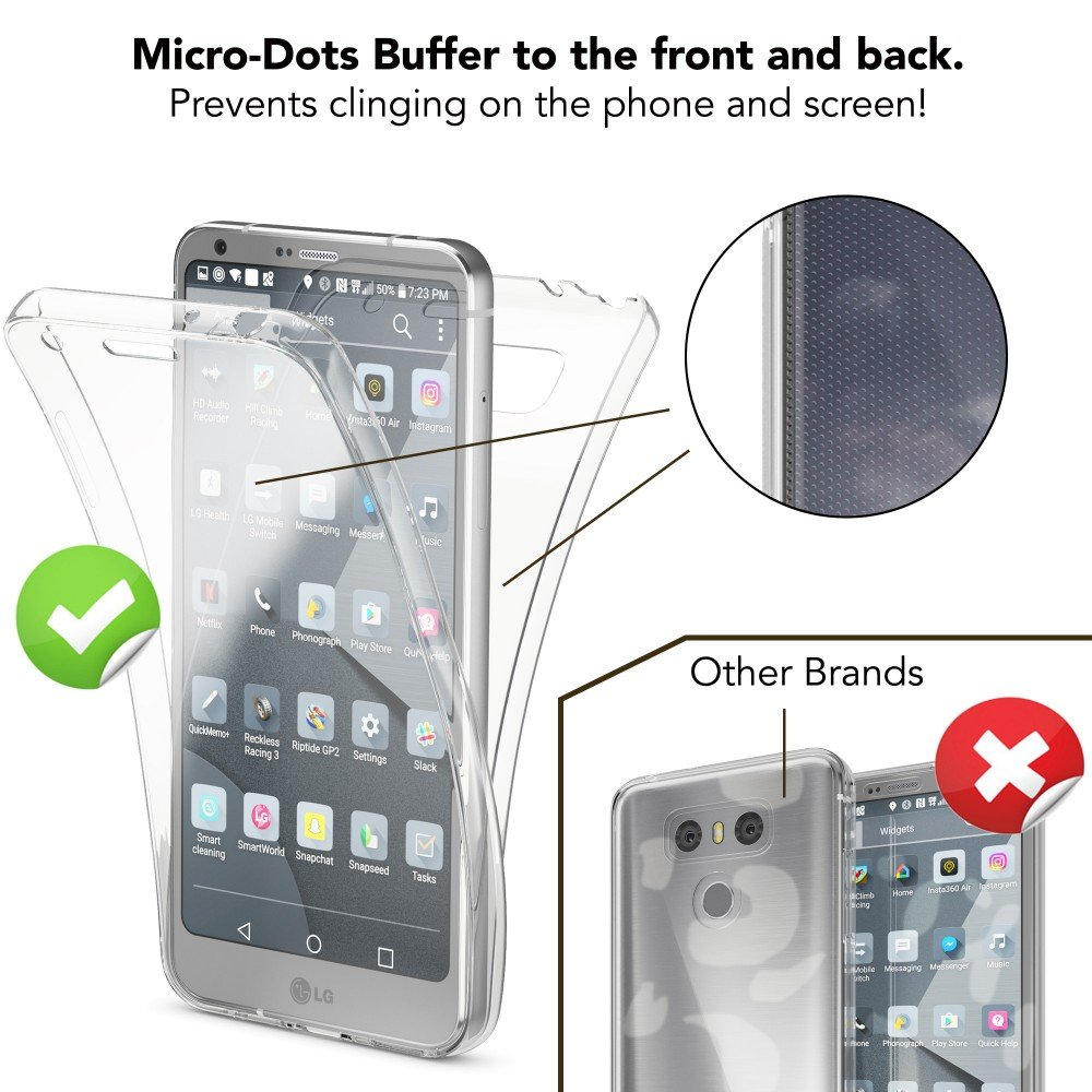 NALIA Funda Carcasa Protectora 360 Grados para LG G6, Movil Silicona Ultra-Fina Gel Transparente Doble Delantera Torno a la protección Cubierta Goma Bumper ...