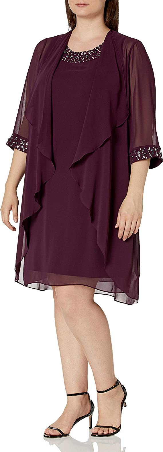 Fashions Womens Chiffon Tier Jacket Dress with Bead Neck S.L