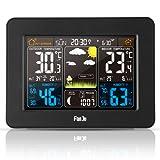 FanJu FJ3365B Prévision de la station météo numérique avec température extérieure et humidité intérieures | Baromètre | Phase de lune | Alerte | Réveil avec capteur extérieur