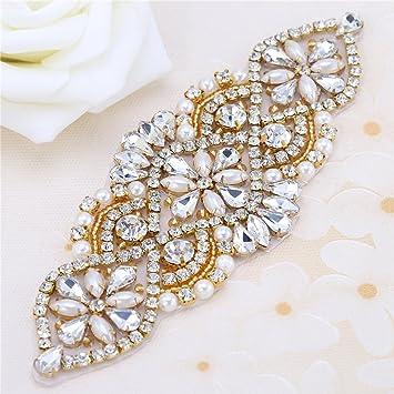 Cristales y Rhinestone De hierro-en Applique con las perlas para la boda  Correas nupciales e0833c2476be