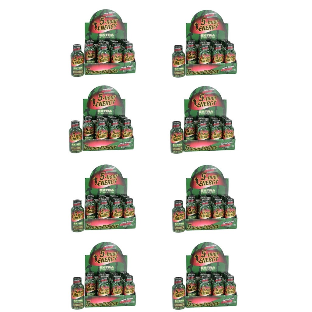 5 Hour Energy Shot Extra Strength Strawberry/Watermelon- 96 Pack of 2 Ounce Bottles