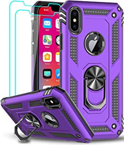 LeYi iPhone Xs Max Case (Not Fit iPhone Xs) with Tempered Glass Screen Protector [2 Pack] for Women Men, [Military Grade] Protective Phone Case with Ring Kickstand for iPhone Xs Max / 10Xs Max, Purple