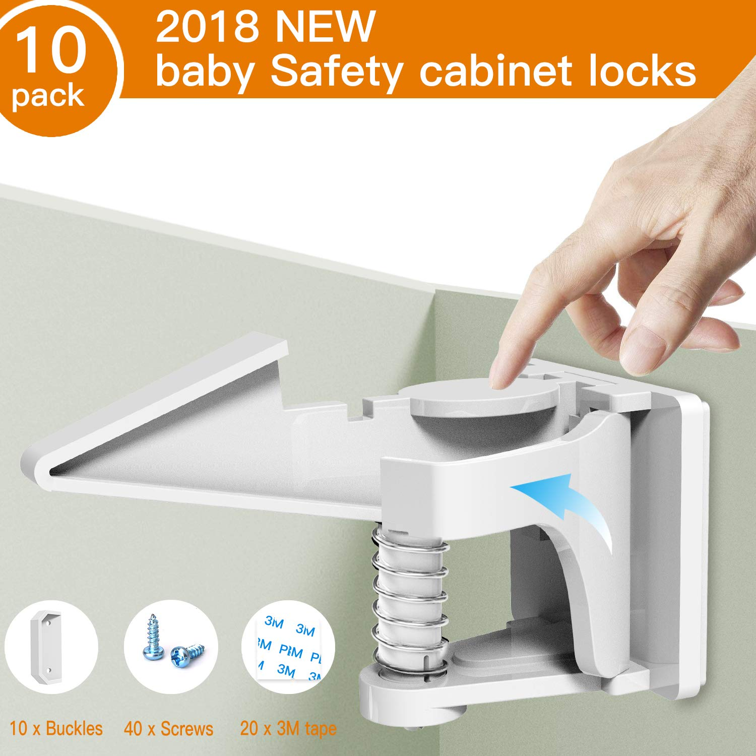 Baby Safety Cabinet Locks, Child Proofing Safety Latches for Cabinets and Drawers, Invisible Design to Keep Kids Safe, Easy to Install with Strong 3M Adhesive, 10Pcs