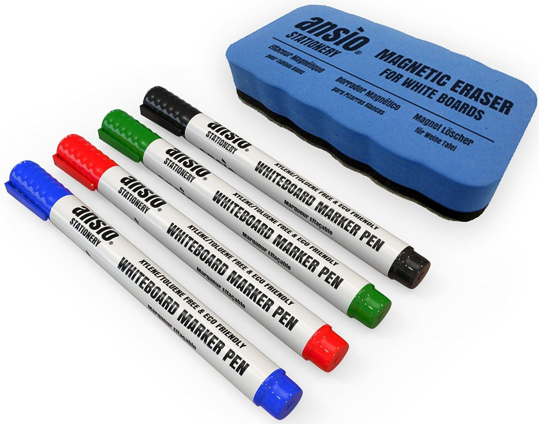 ANSIO Juego de rotuladores para pizarra borrado seco incluye borrador magnético