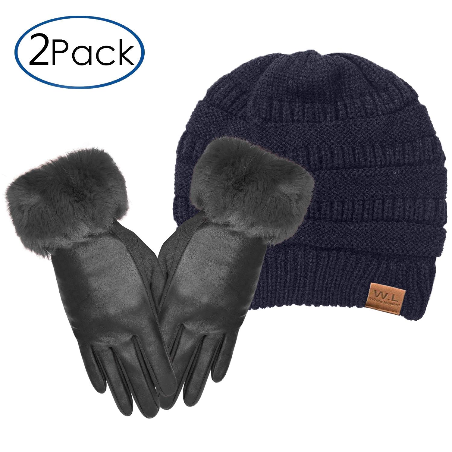 Women Leather Gloves Touchscreen Warm Plain Gloves- Touch Screen Texting for Phone (fur black+navy cc) by Whiteleopard