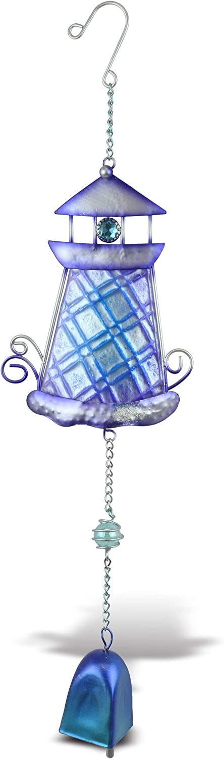 CoTa Global Purple Lighthouse Hanging Sea Glass Wind Chime 17.72 Inch, Nautical Glass Windchime Outdoor Decor for a Harmonic Porch, Patio & Garden, Unique Beach Art Indoor Wind Chime Window Mobile