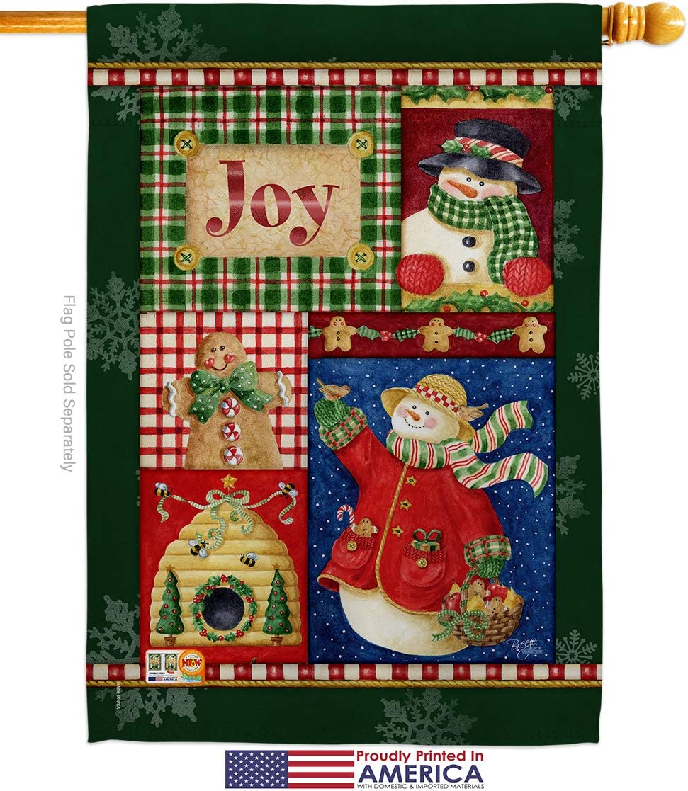 Amazon Com Breeze Decor Christmas Joy Snow Woman Garden House Flags Kit Winter Santa Marry Xmas Present Reindeer Season Wintertime Small Decorative Gift Yard Banner Made In Usa 28 X 40