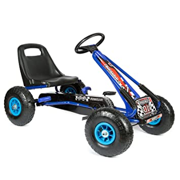 """bopster® Coche de pedales """"Go-Kart"""" con ruedas hinchables para niños Azul/Negro"""
