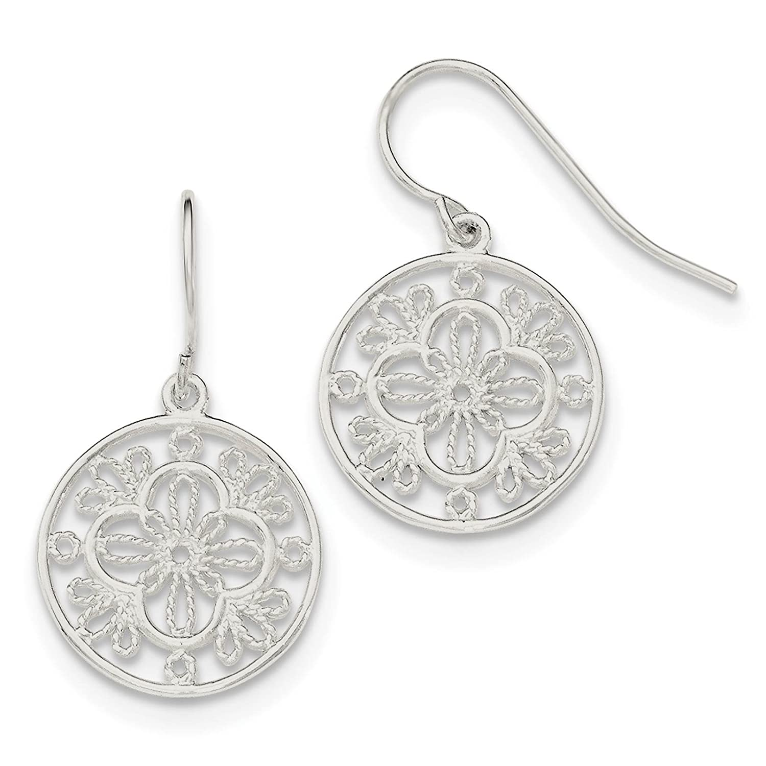 925 Sterling Silver Polished Filigree Circle Dangle Earrings