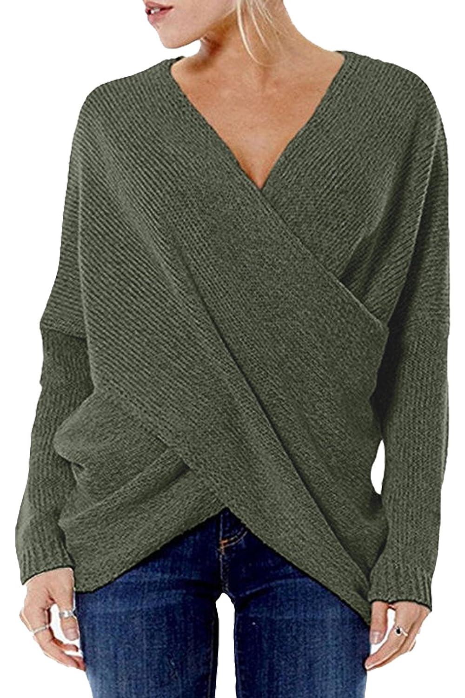 YOINS Damen Pullover Oberteile Strickpullover für Damen Herbst Winter Langarm V-Ausschnitt Batwing Cross Front YOINSXzesoil9233