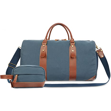 a7eab9b7b00c Oflamn 21 quot  Large Duffle Bag Canvas Leather Weekender Overnight Travel  Carry On Tote Bag with