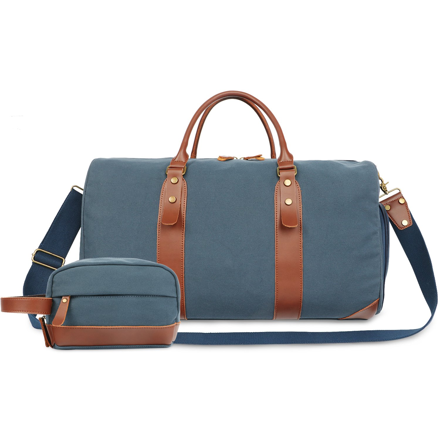 Oflamn 21'' Large Duffle Bag Canvas Leather Weekender Overnight Travel Carry On Bag - Free Toiletries Bag (Blue)