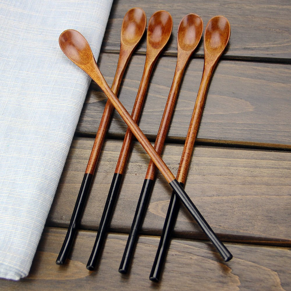 Wooden Iced Tea Spoons, AOOSY 9.13 inches 10 Pieces 100% Natural Wood Long Handle Drink Spoons Cocktail Stirrer Swizzle Sticks by AOOSY (Image #3)