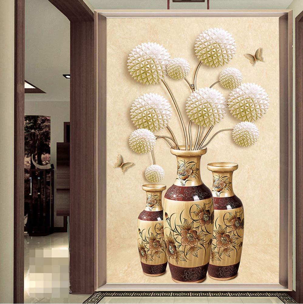 Mznm Custom Photo Wallpaper 3D Relief Ball Flower Butterfly Vase Mural Wallpapers For Living Room Entrance Corridor Decor Wall Murals-120X100Cm
