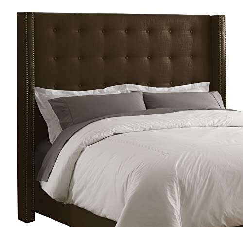 Skyline Furniture Linen King Nail Button Wingback Headboard, Chocolate