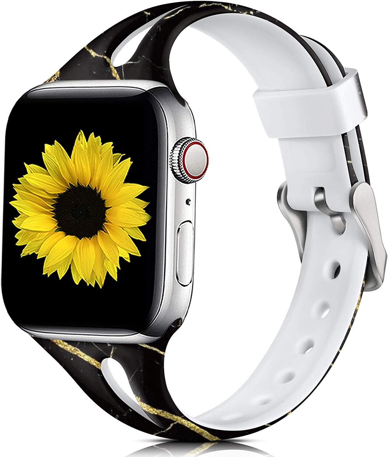 Easuny Floral Bands Compatible for Apple Watch 44mm Series 6 Series 5 4 for Women, Soft Slim Band Thin for Apple Watch SE,iWatch 42mm Series 3 2/1, Printed Silicone Wristband M/L, Black Gold Marble